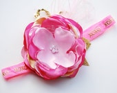 PINK and GOLD vintage inspired satin flower headband with pearls. holiday bow. couture bow. valentine bow. shades of pink. light n hot pink.