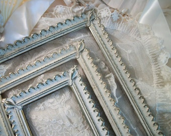 3 french provincial matching lacy whitewash gold metal vintage picture frames, small, medium & large, shabby french cottage, original finish