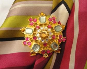 Vintage brooch, Multi color rhinestone 3 dimensional starburst design, Recycled with magnetic back clasp, Bonus silk scarf