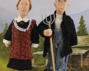 American Gothic Dolls Americana Art Miniature Collectible Set Farm Theme