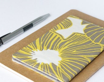 SALE - Gray and Yellow Checkbook Cover, Modern Floral Fabric Check Cover