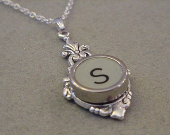 Typewriter Key Necklace RARE GRAY LETTER  S Typewriter key Jewelry Initial Necklace Initial Necklace S