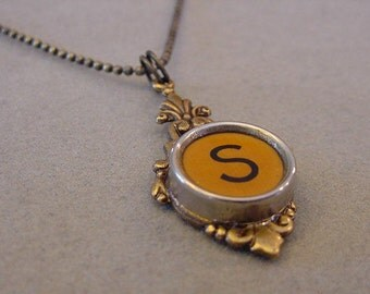 Typewriter Key Necklace  Butterscotch Letter S  Antiqued brass setting Initial S Typewriter key Jewelry Initial Necklace S