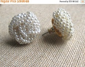 ON SALE Pearl Earrings,Pearl Knot Earrings, Post Earrings, Bridal Earrings, Vintage Pearl Earrings