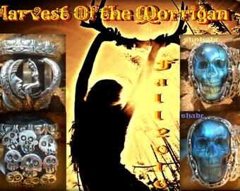 Morrigans Harvest Samhain Labradorite Skull ring with Moon rider goddess