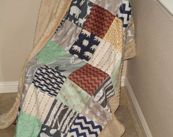 In the Woods Navy Orange Teal Gray Minky Blanket 46 x 59 READY TO SHIP On Sale