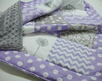 Wonderland Lavender and Gray 3 Piece Baby Crib Set MADE TO ORDER Free Shipping