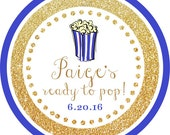 Ready to Pop! Gold Glitter Blue Popcorn Thank You PERSONALIZED Stickers, Tags, Labels, or Cupcake Toppers, various sizes, printed & shipped