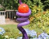 Raspberry Purple Glass Sculpted Tigger Tail with Fire Red Ball Garden Art Finial Outdoor Garden Sculpture