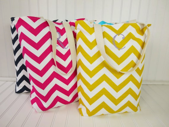 Bridesmaid Totes -  4 Small Chevron Beach Totes - Maid of Honor Gifts - Welcome Bags & Wedding Favors