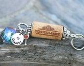 Upcycled Wine Cork Keychain, Red Wine Charm, Wine Lover Gifts, Wine Theme Key Fob