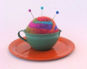 SHOP CLOSING SALE - Pin Cushion - Needle Felted - In Vintage Child's Tin Tea Cup With Saucer - Orange and Green