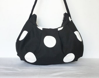 Pleated Bag // Shoulder Purse - Oxygen Dots Black/White