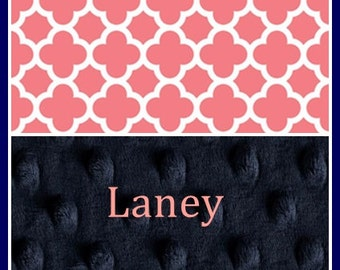 Personalized Girl Blanket~Baby Girl's Blanket~Quatrefoil Nursery~Navy and Coral~Shower Lovey Gift~