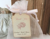 Rose Bridal Favor Bags Tea Party DIY Organza Bags and Tags Set of 10 Personalized Bridal Shower