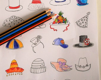 Hats! Adult Printable Coloring Page Colorful - A Great Hat Speaks for Itself