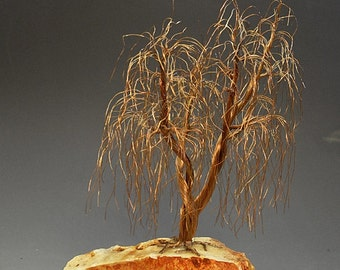 Weeping Willow  Recycled Wire Tree Sculpture by metal artist  H-Omer - 2229 -  FREE SHIPPING