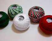 Tatting Thread, Lizbeth Size 10 Cotton Crochet Thread, Christmas Collection, Red and Green Thread