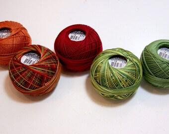 Tatting Thread, Lizbeth Size 10 Cotton CrochetThread,  Harvest Mix Collection, Orange, Yellow, and Green Thread