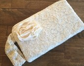 Sale - Gold & Ivory Lace Wristlet Clutch
