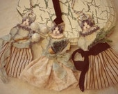 VICTORIAN Shabby Set of 3 Kitty CAT Mixed Media Christmas ORNAMENTS