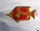 Vintage Orange and Yellow Tropical Fish Pin / Brooch