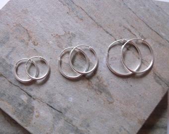Sterling Silver Three Pairs Of Hoop Earrings, 12mm hoops, 16mm hoops and 20mm Hoops
