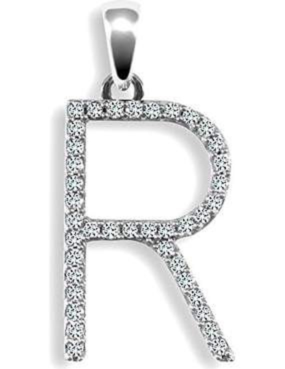 9ct White Gold and 0.2ct Diamond Initial Pendants