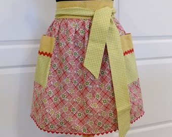 Womens Half Apron Vintage Style Kitchen Waist Aprons with pockets