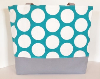 Jumbo Dot Tote Beach Bag . Lagoon and Gray  . Standard size .  beach bag  .  teacher or bridesmaid gifts .  Monogramming Available