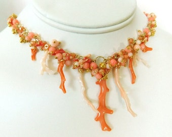 Coral Necklace - Coral Statement Necklace - Red Coral Necklace - Pink Coral Necklace - Beach Necklace