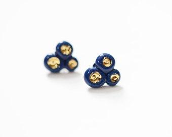 22k Gold Navy Porcelain Barnacle Concept Studs - Porcelain Jewelry - Porcelain Stud Earrings, 14k gold filled posts, Sensitive Ears