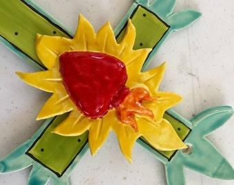 Ceramic sacred heart Cross colorful Mexican folk art