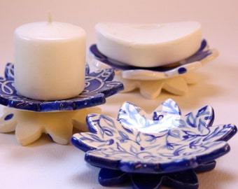 Delft Bue pottery Dish Set :) 3 ceramic serving flowers, whimsical hostess gift, candleholders, ring dish