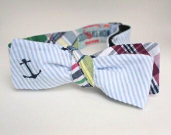 Anchor Bow Tie Seersucker Madras Preppy Bow Tie Maine Preppy Groom Groomsmen Ring Bearer Bowtie East Coast Wedding or Photo Prop