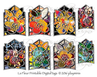 La Fleur Printable Tags, 2 smaller and 6 at 2.5 x 3.5 inch, ATC cards, Collage Sheet, Instant Digital Download, AC006