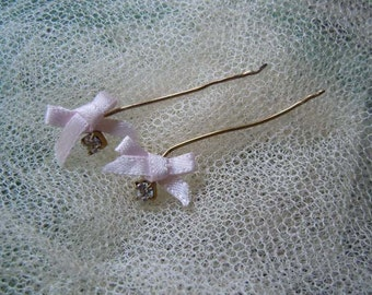 For Antique Doll Vintage faux diamante earrings with pink bows