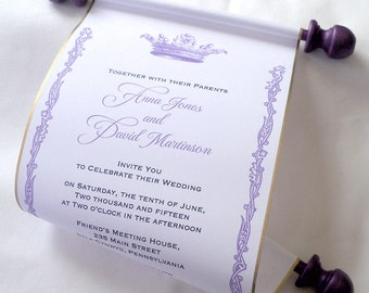 Royal wedding invitation, paper scroll invitation, crown invitation, castle invitation, purple and gold wedding, set of 15