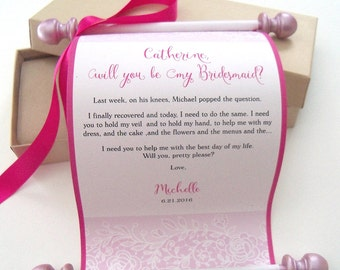 Will You Be My Bridesmaid, Will you Be My Maid of Honor, Personalized Scroll, Custom Wedding Party Invitation, Pink & kraft, lace invitation