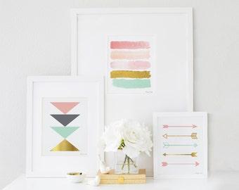 Arrows Art Print, Design Trio Printable Art, Home Decor Wall Art, Pink Gold & Mint, Seafoam Green, Nursery Decor Baby Shower Decor Gift