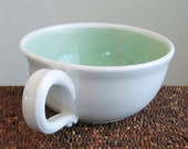 Soup Mug - Large Stoneware Pottery Coffee Mug or Cappuccino Cup in Mint Green 20 oz