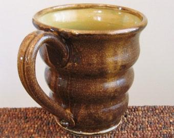Beehive Mug - Large Pottery Coffee Mug in Caramel and Tiger's Eye Brown 16 oz. Stoneware Ceramic