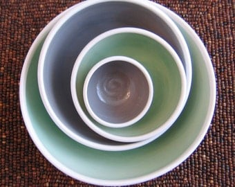 Ceramic Nesting Bowls - Modern Stoneware Pottery Bowl Set in Gray, Mint Green and White