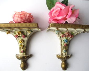 Vintage Floral Shelf Wall Hanging Pair - Shabby Sweet and Charming