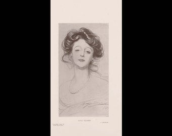 Burr McIntosh Monthly Magazine Print - Lulu Glaser, Stage Actress Drawing c. 1904