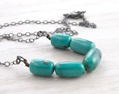 Turquoise Gemstone Necklace, December Birthstone, Hand Knotted, Oblong Beads, Oxidized Sterling Silver, #4297