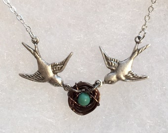 Mothers love baby edition new mommy mothers necklace parents love birds silver oxidized sparrow sparrows love birds hand woven nest antique