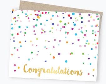 Congratulations Card - Confetti - Gold Foil - Greeting Card - Congratulations - Celebration