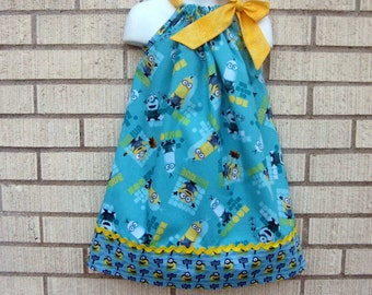 Minions Pillowcase dress in sizes 6M to  8Y