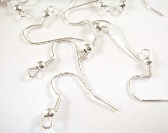60 Silver Earwire Fishhook Ball Coil Earring Plated Brass 18mm - 60 pc - F4014EW-S60